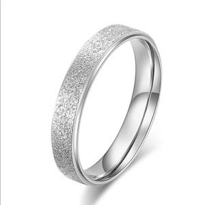 6mm Stainless Steel Silver Frosted Engagement Ring